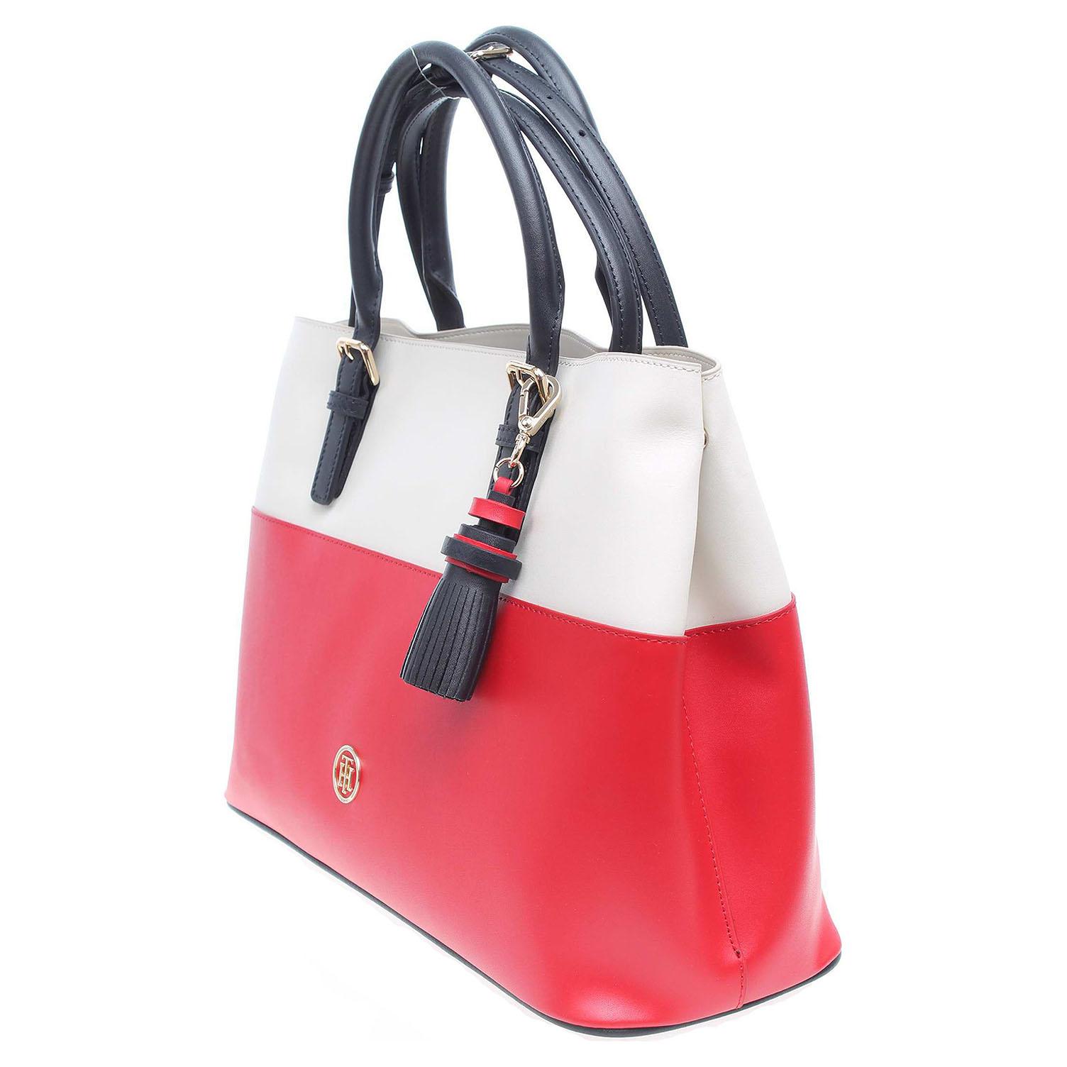 Ecco Tommy Hilfiger dámská kabelka AW0AW04047 červená-bílá 11891140