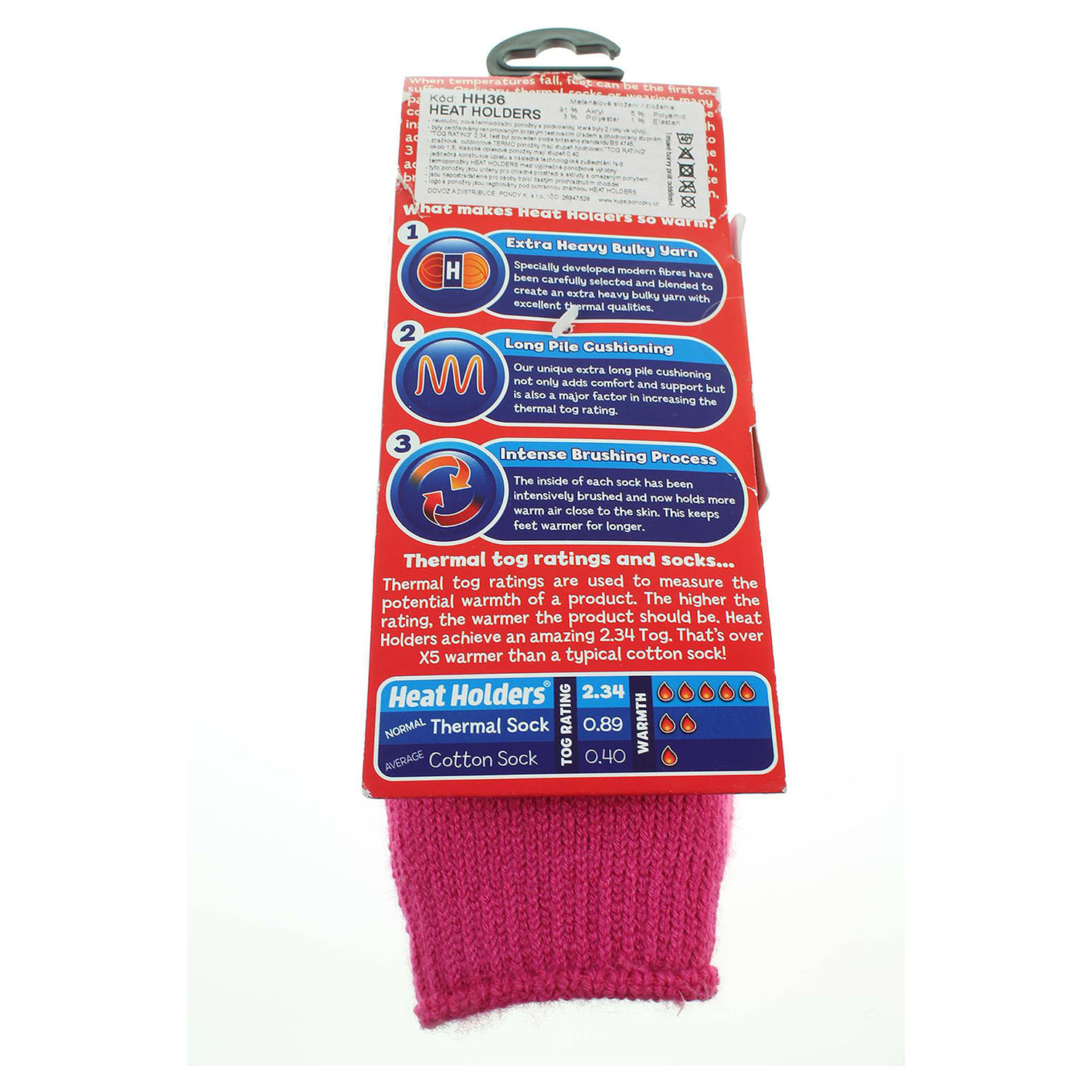 Heat Holders dětské ponožky růžové 33