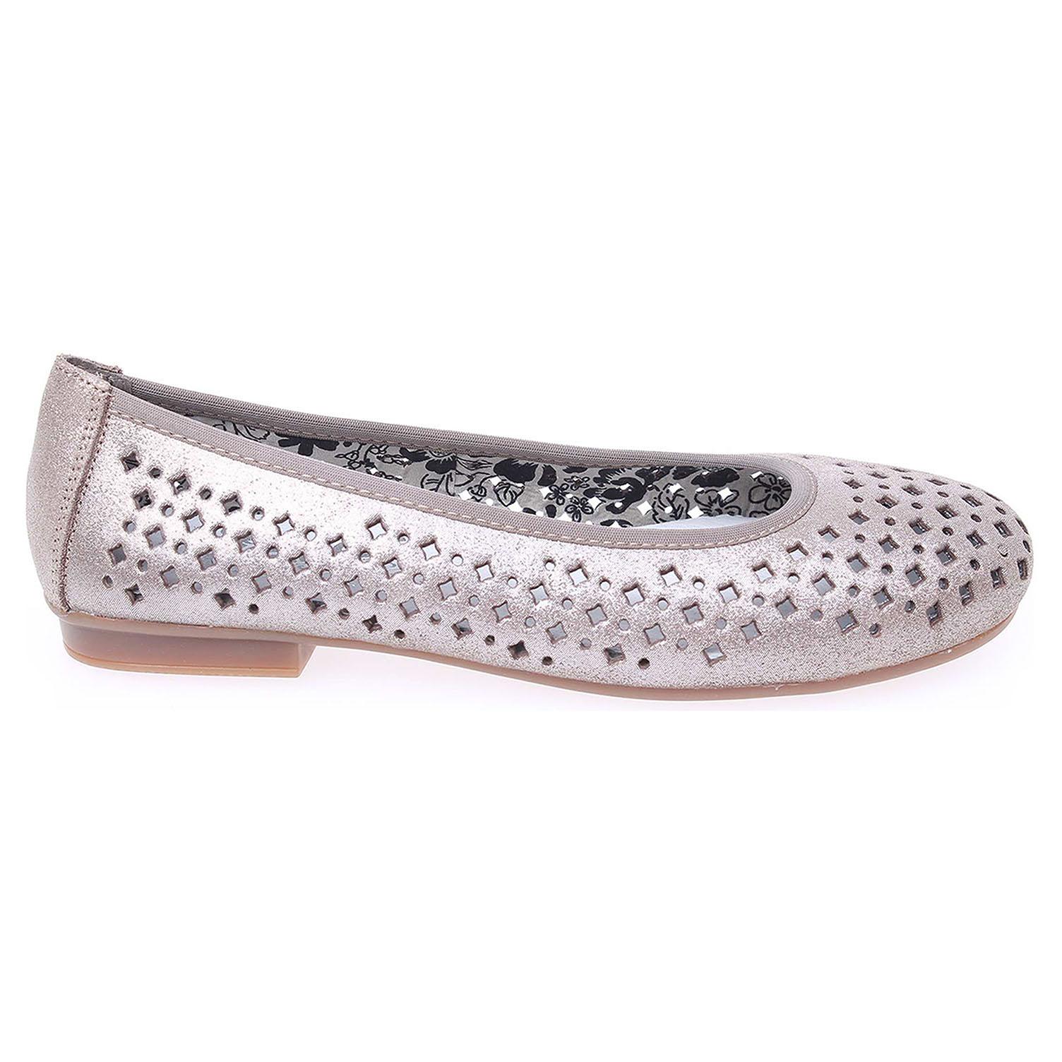 Ecco Rieker dámské baleriny 43457-42 šedé 23300730