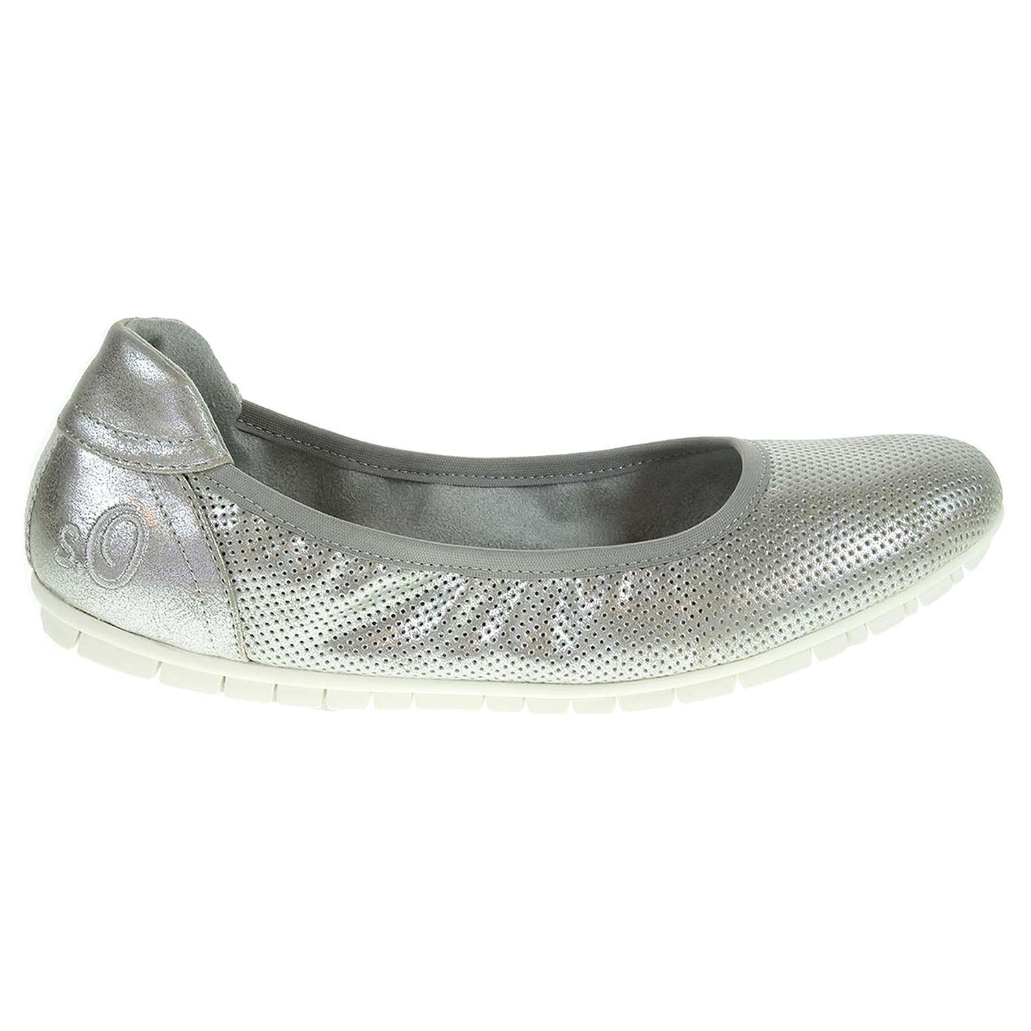 Ecco s.Oliver dámské baleriny 5-22119-28 stříbrné 23300864