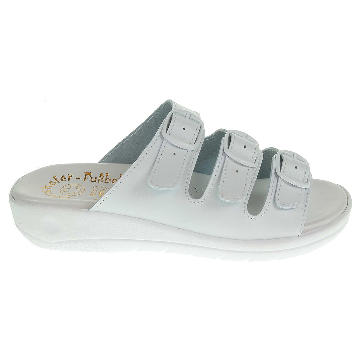 Zdravotní pantofle bílé 3 páskové 41