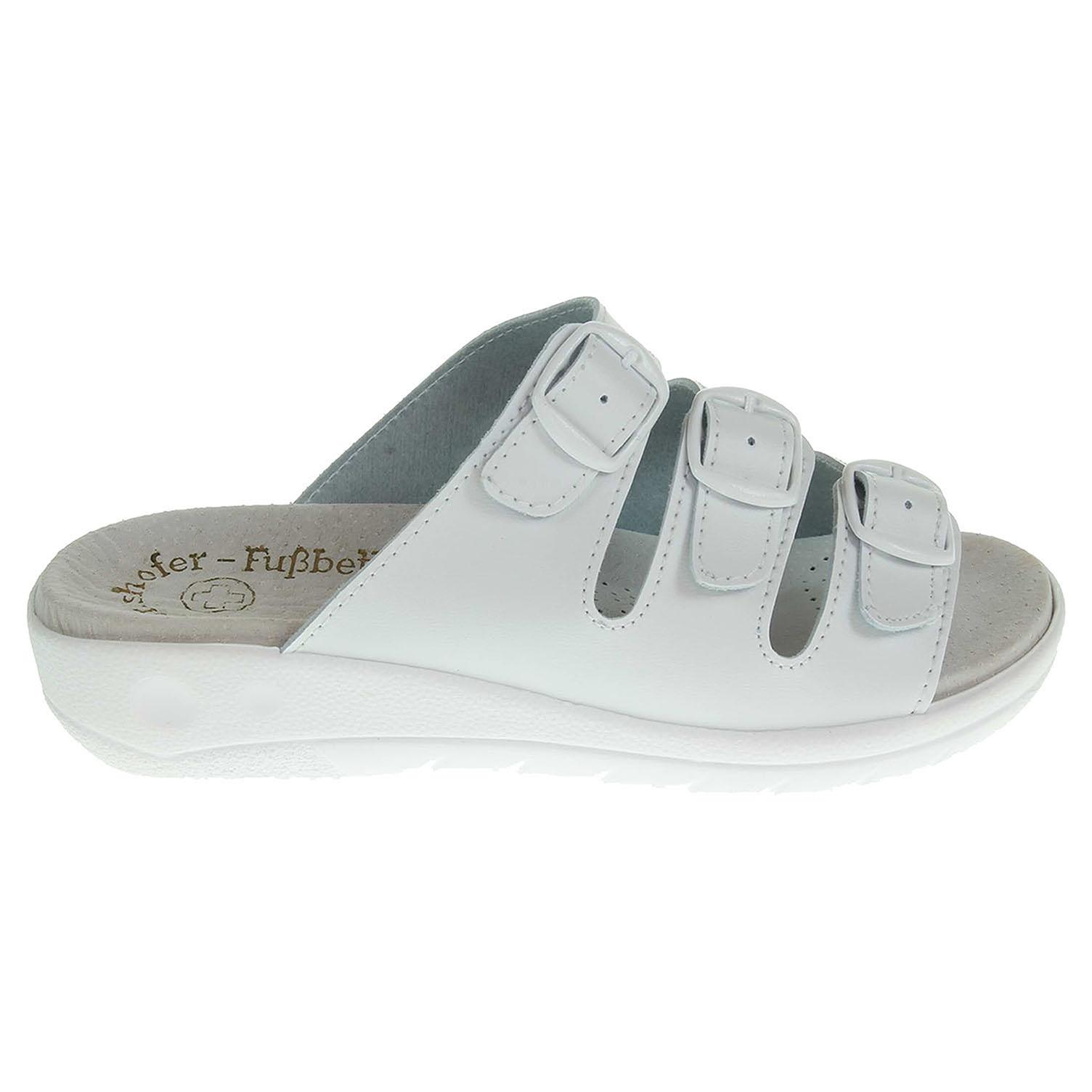 Zdravotní pantofle bílé kožená stélka 36