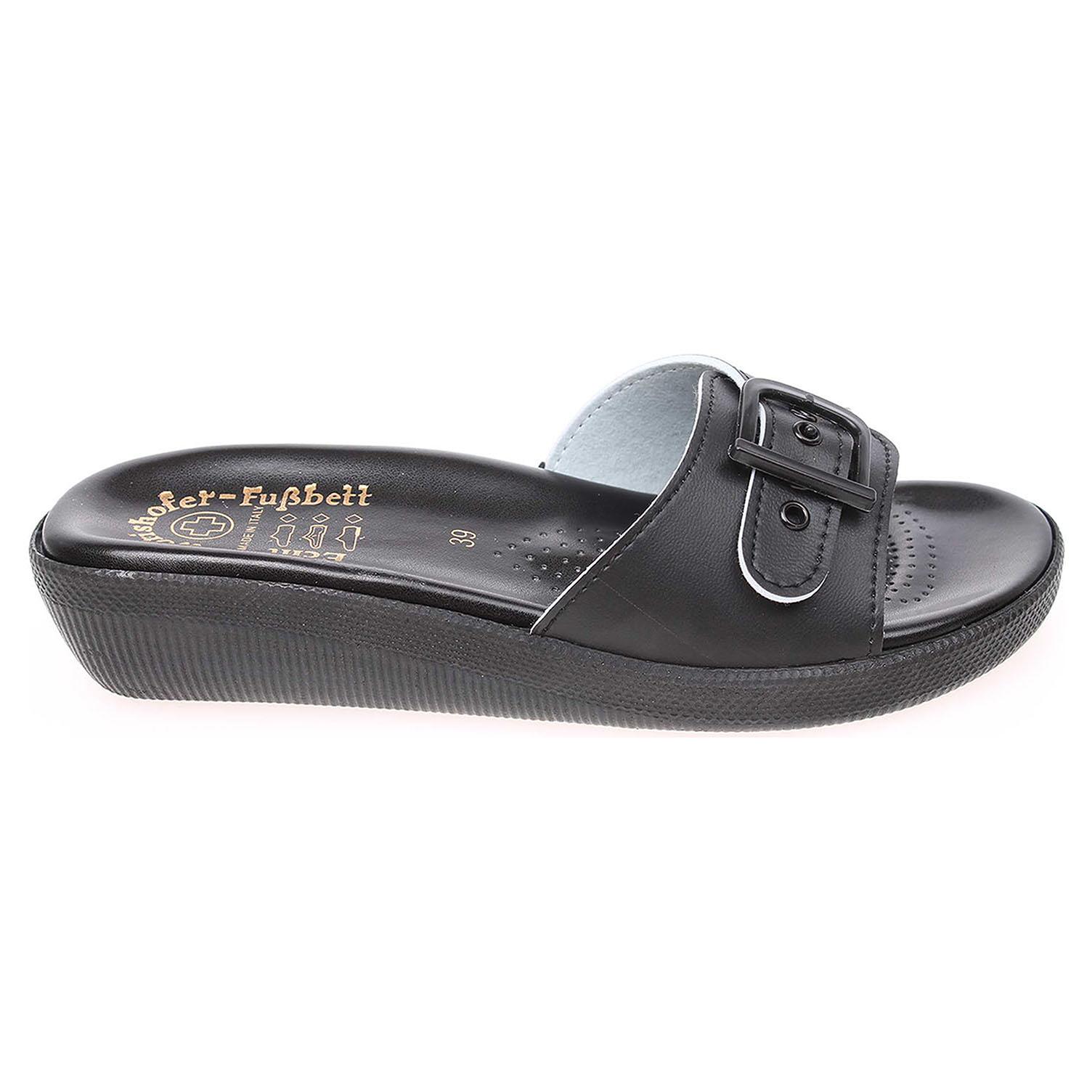 Dámské zdravotní černé pantofle 1 páskové 40