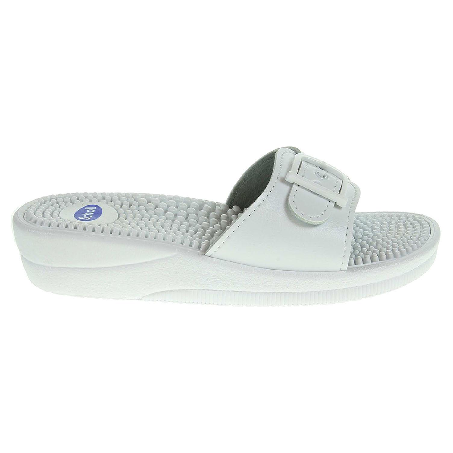Ecco Scholl dámské pantofle F20054 1065 New Massage bílé 23400330