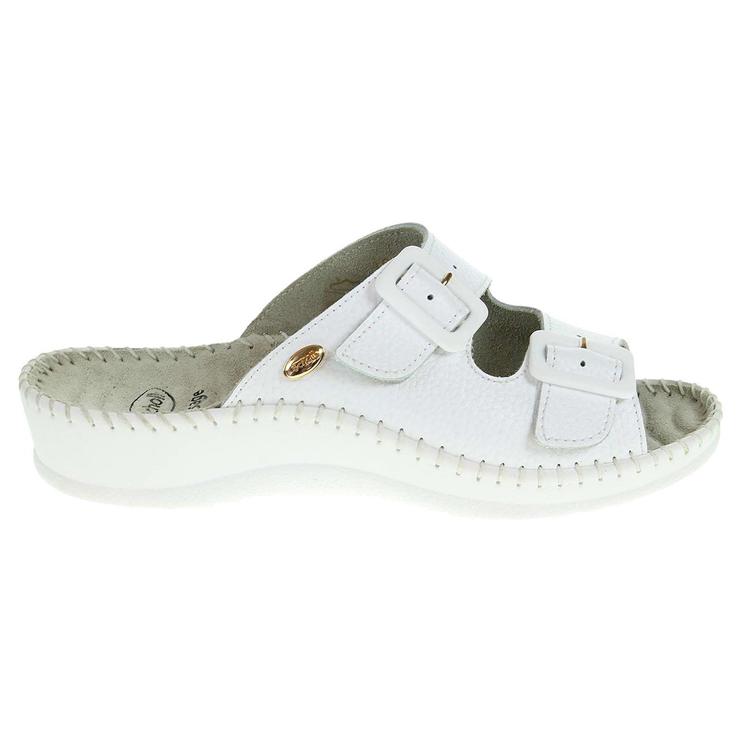 Ecco Scholl dámské pantofle F20067 1065 Weekend bílé 23400331