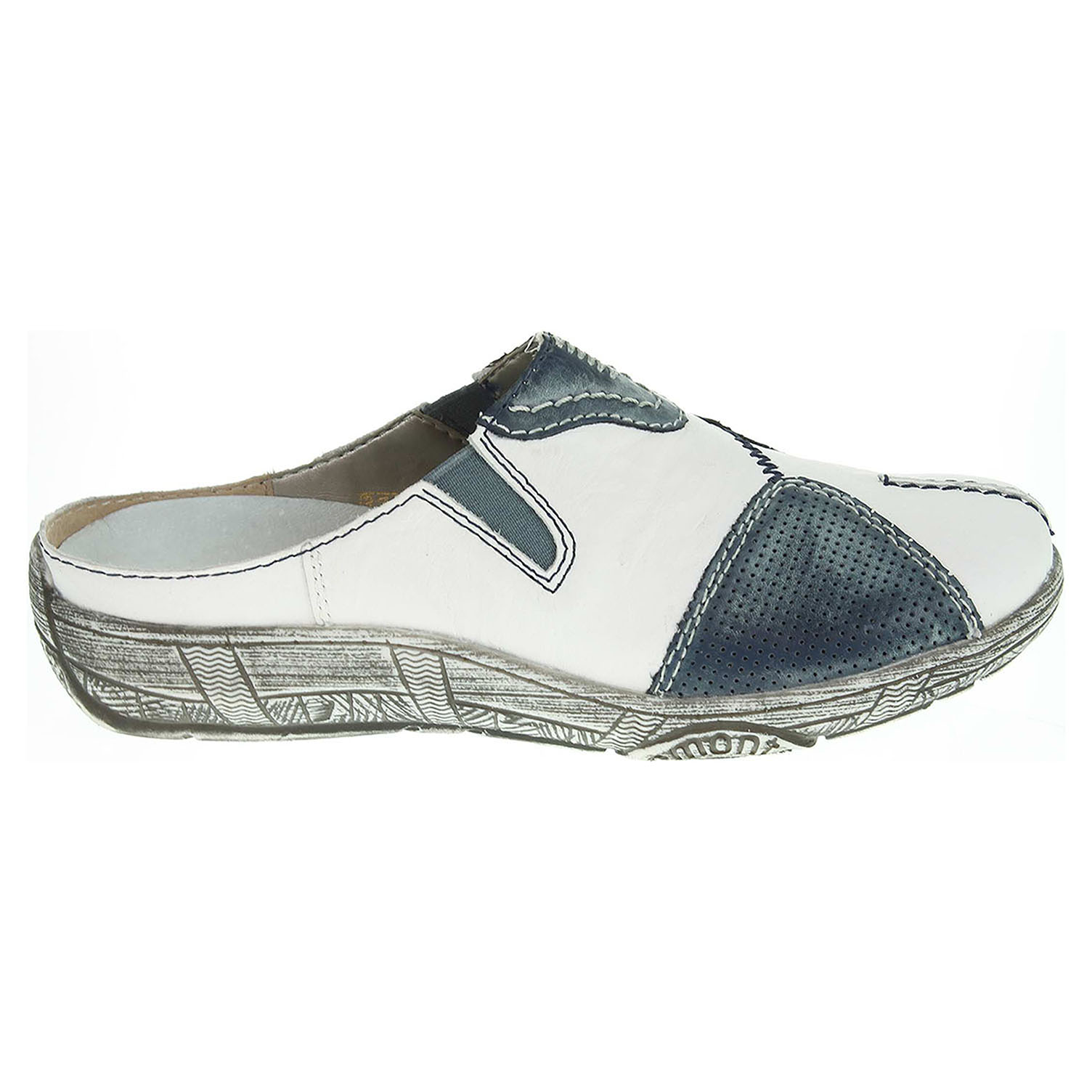 Ecco Remonte dámské pantofle D3850-80 bílá-modrá 23600710