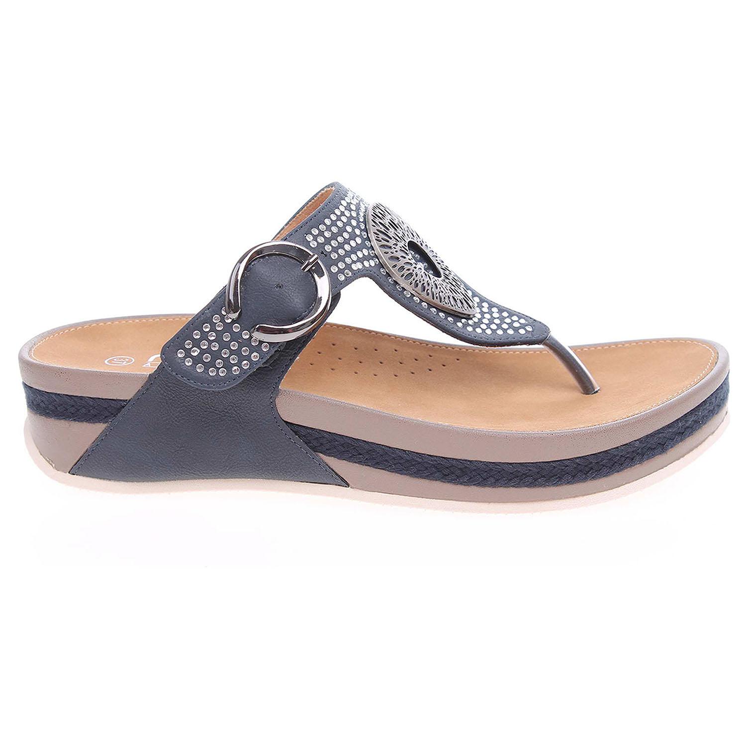Ecco Rieker dámské pantofle V1460-14 modré 23600760