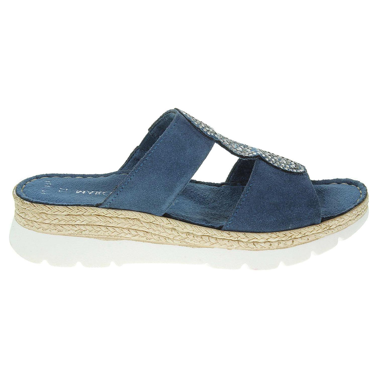 Ecco Marco Tozzi dámské pantofle 2-27200-28 modré 23600765