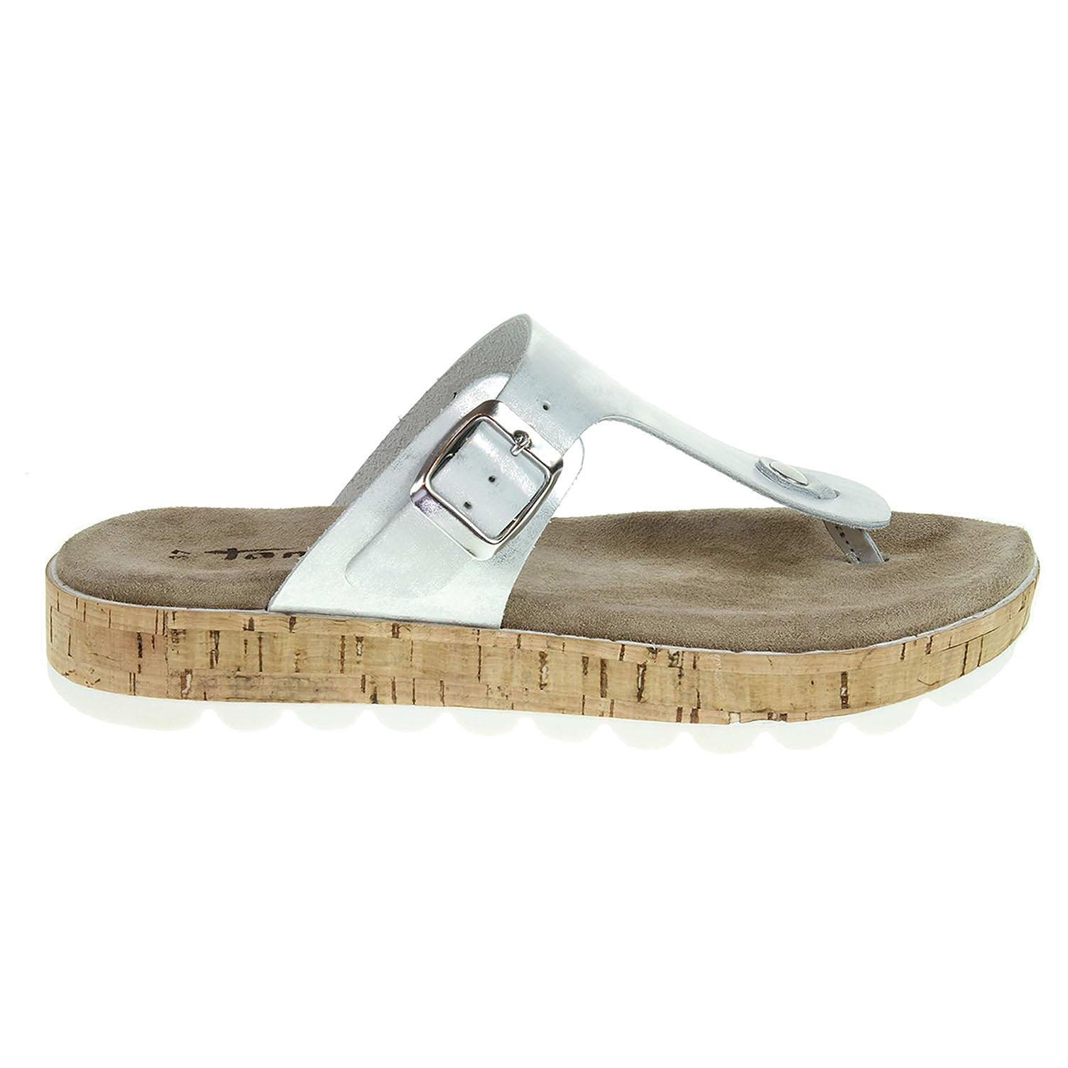 Ecco Tamaris dámské pantofle 1-27208-28 stříbrné 23600769