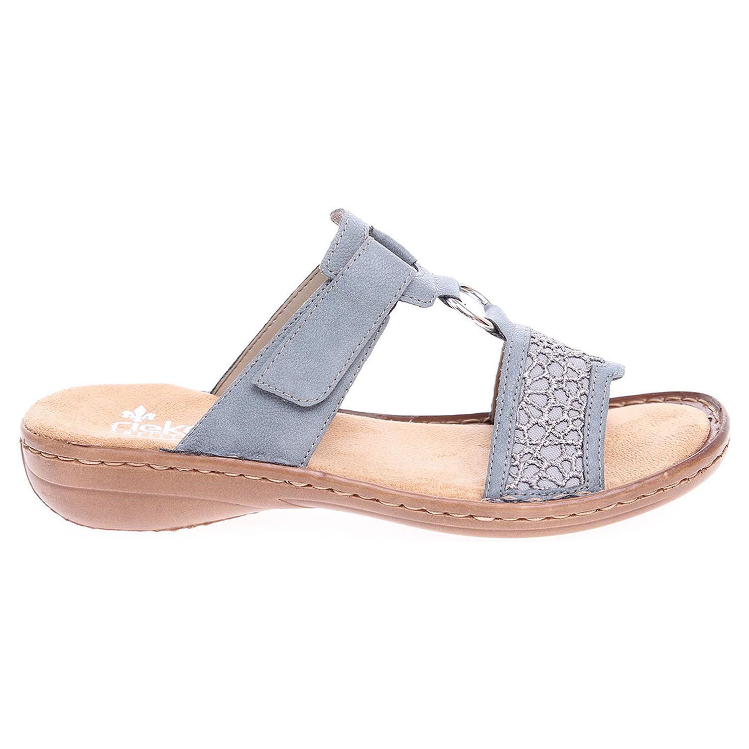 Ecco Rieker dámské pantofle 608P3-12 modré 23600781