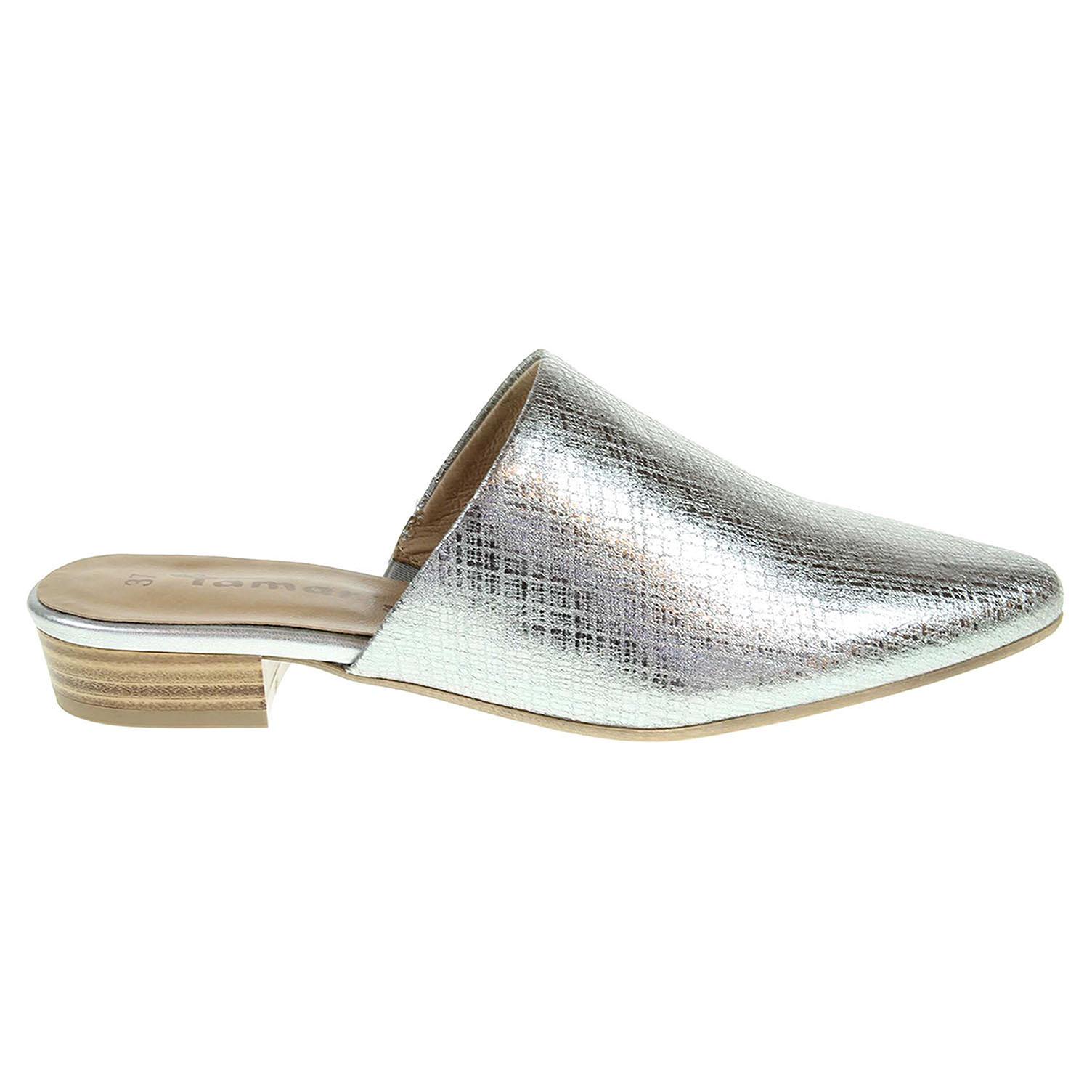 Ecco Tamaris dámské pantofle 1-27304-38 stříbrné 23600787
