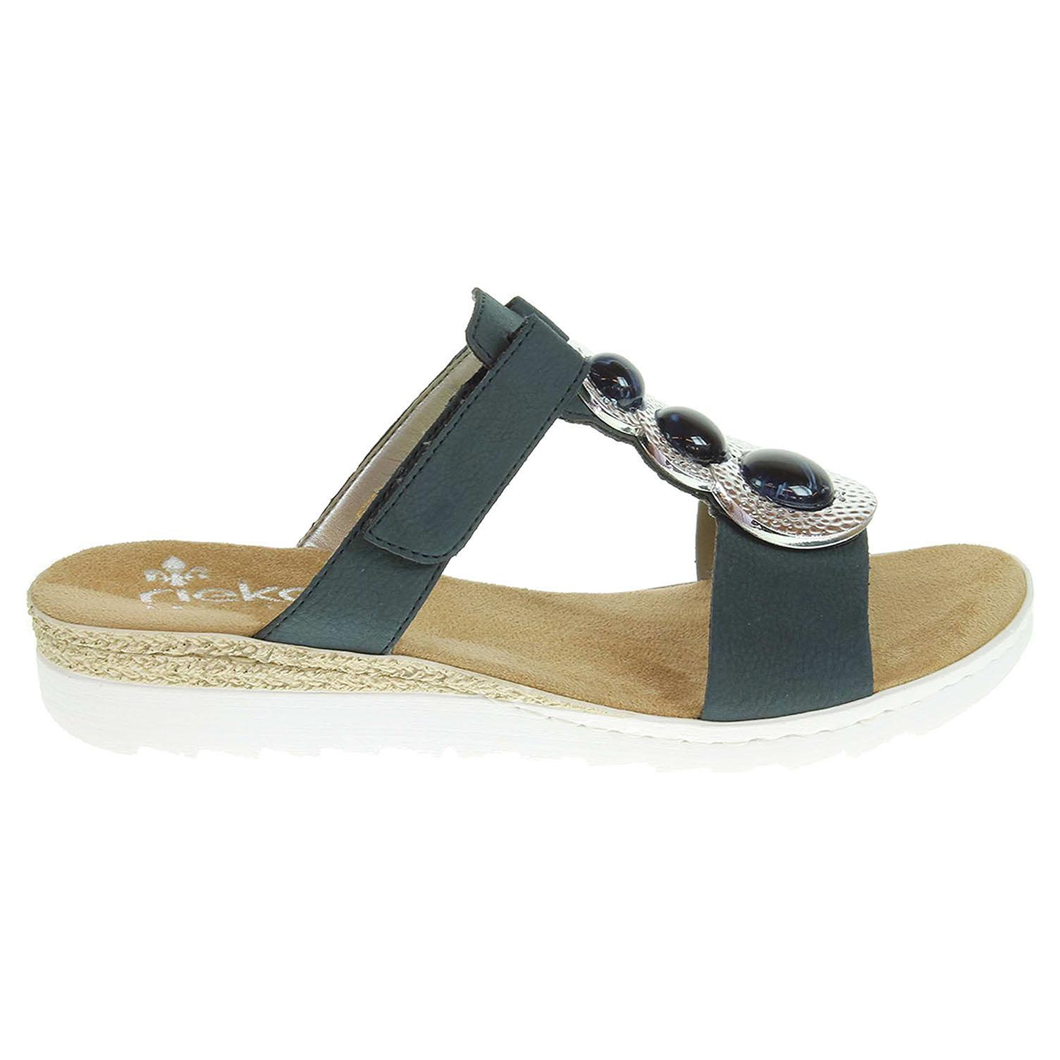 Ecco Rieker dámské pantofle 63064-14 modré 23600790