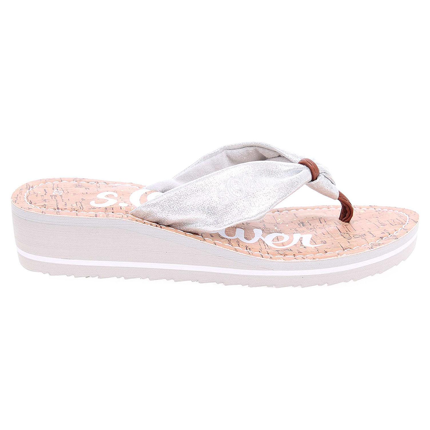 Ecco s.Oliver dámské pantofle 5-27117-38 stříbrné 23700301