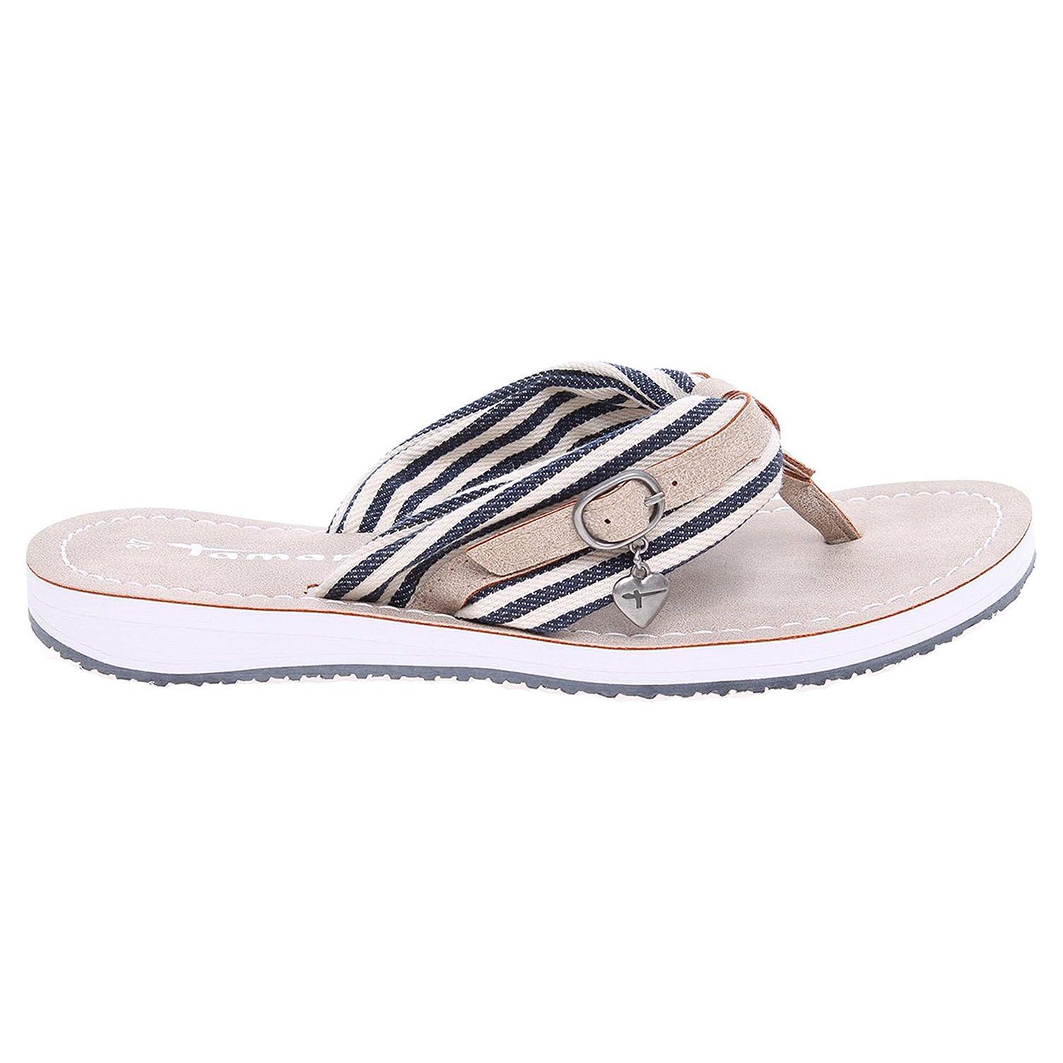 Ecco Tamaris dámské plážové pantofle 1-27109-28 modrá-béžová 23700320