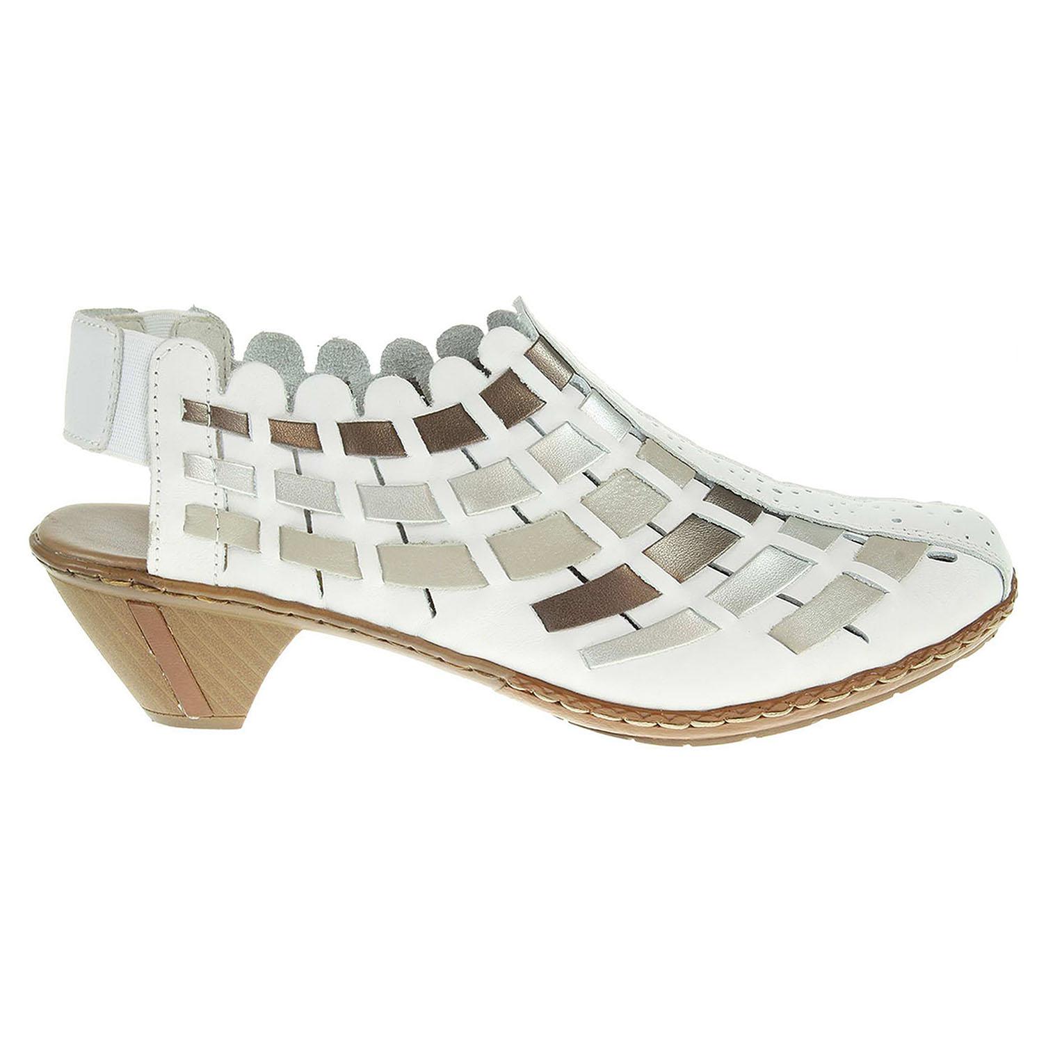 Rieker dámské sandály 46778-81 bílá-stříbrná 40