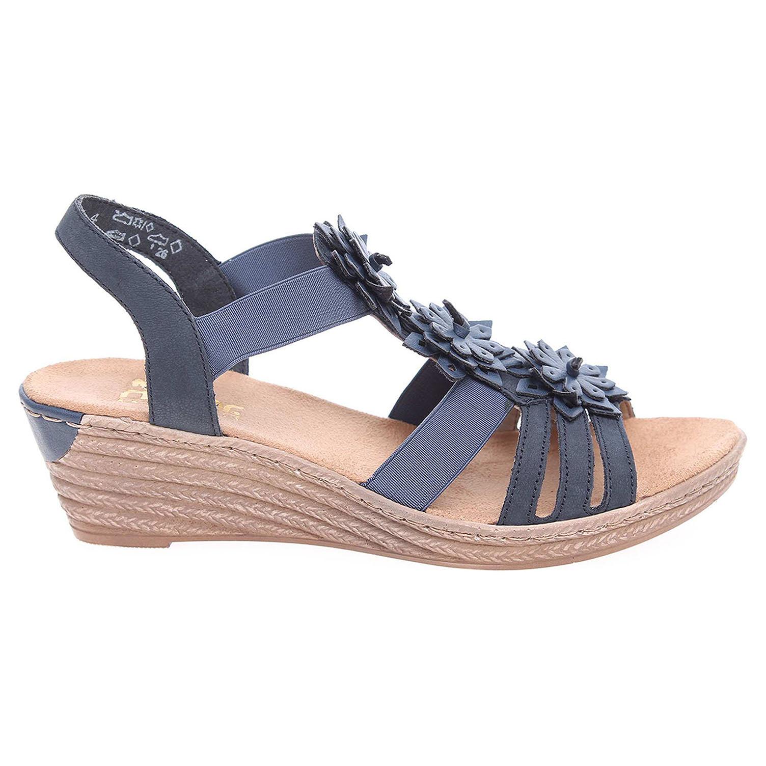 Ecco Rieker dámské sandály 62461-14 modré 23801111