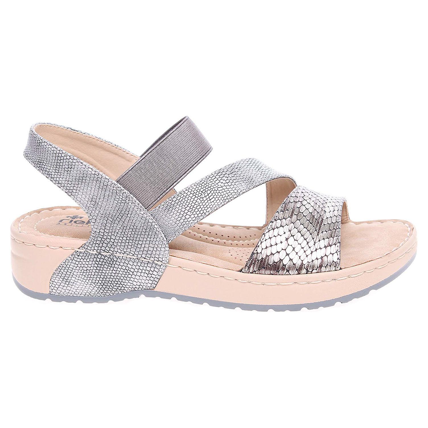 Ecco Rieker dámské sandály V5773-90 stříbrné 23801114