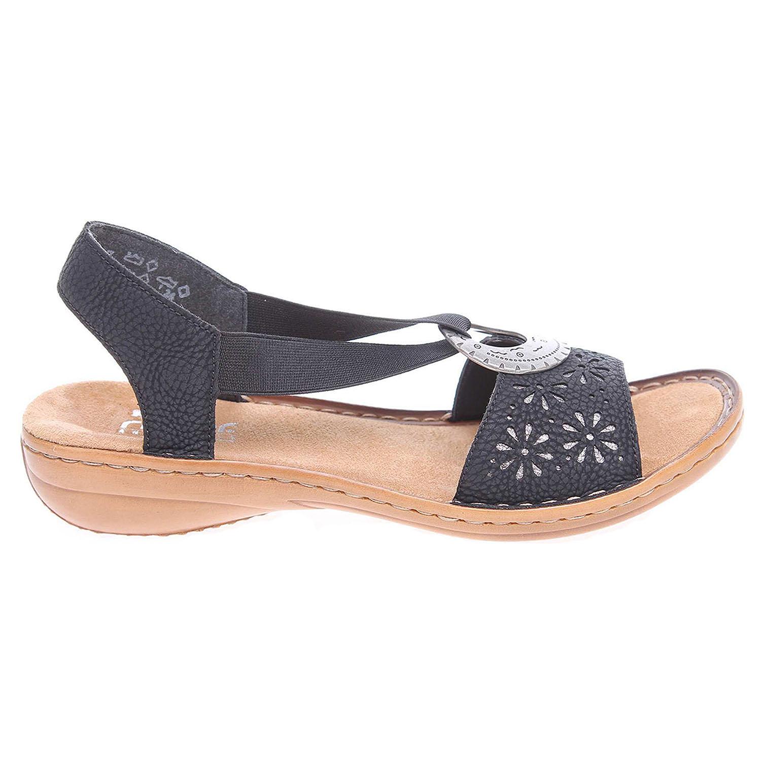 Ecco Rieker dámské sandály 60886-00 černé 23801117