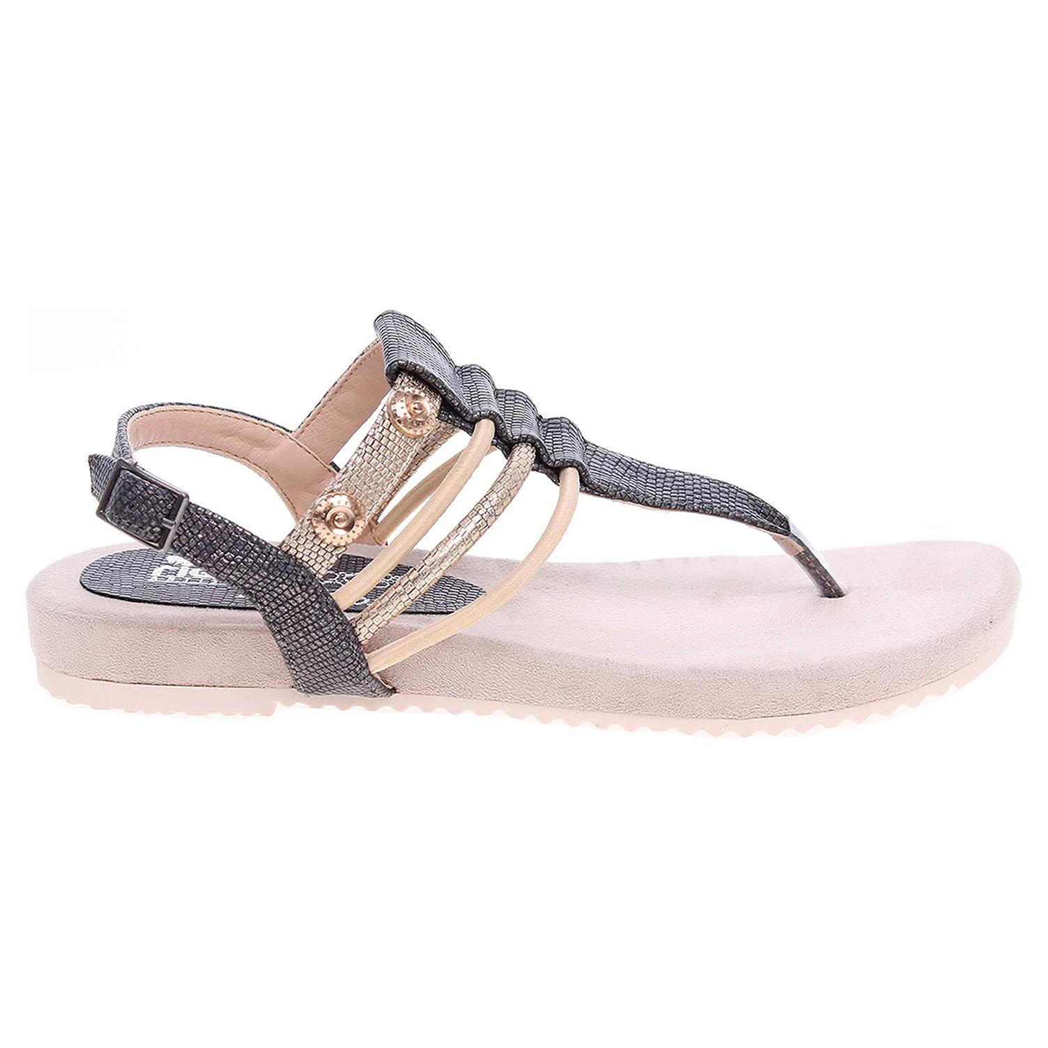 Ecco Rieker dámské sandály V5373-45 šedá-zlatá 23801156