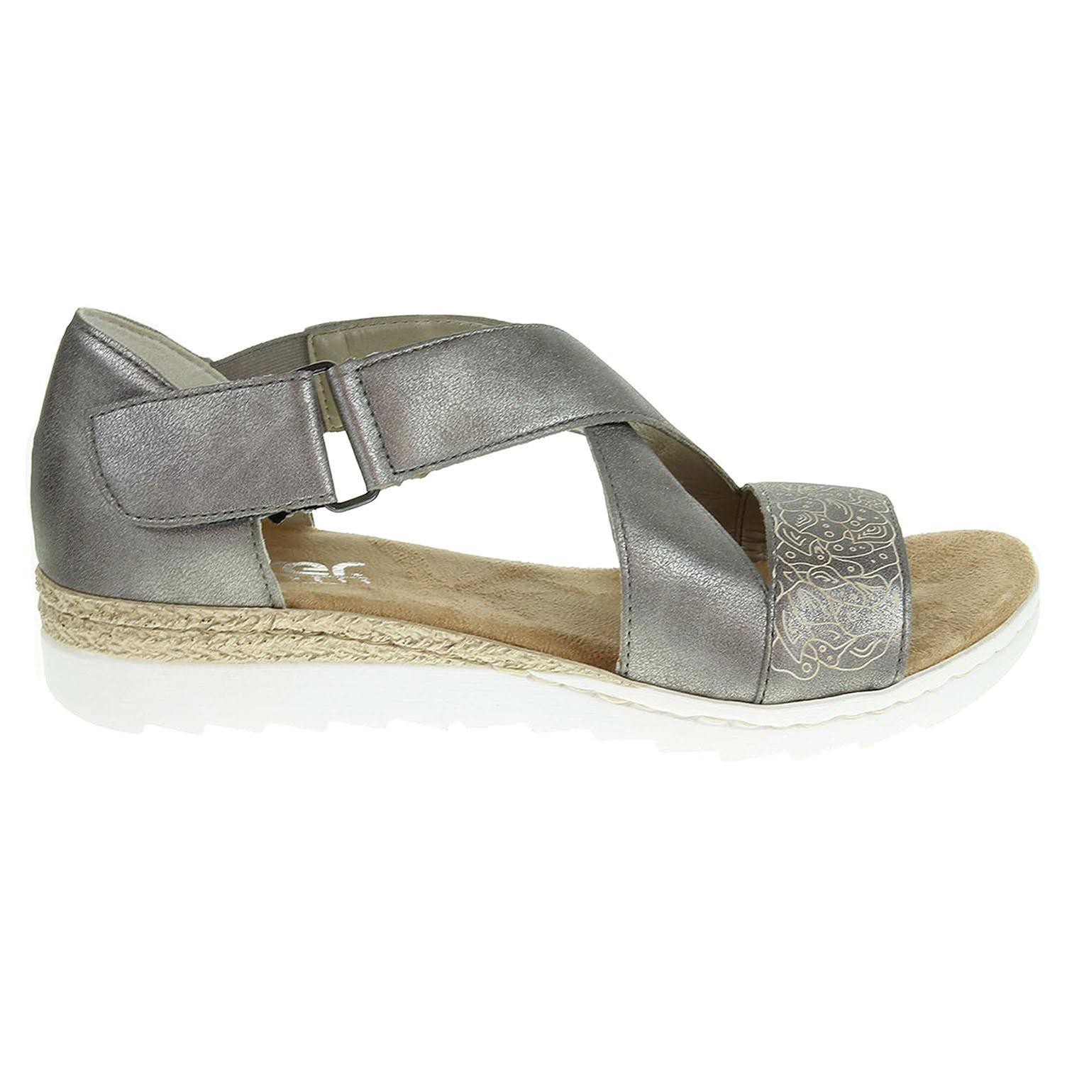 Ecco Rieker dámské sandály 63085-91 stříbrné 23801157