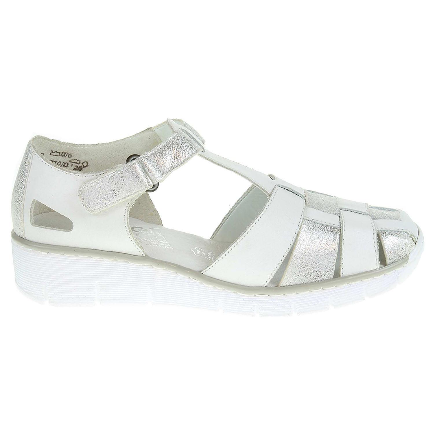Ecco Rieker dámské sandály 53769-80 bílá-stříbrná 23801161