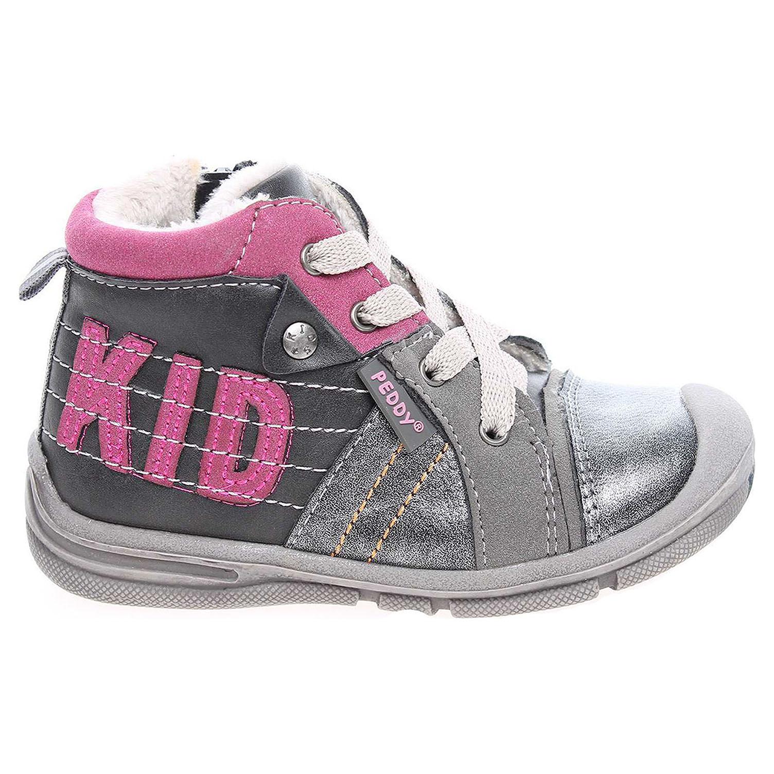 Peddy dívčí kotníkové PV-636-32-01 šedá-růžová 20