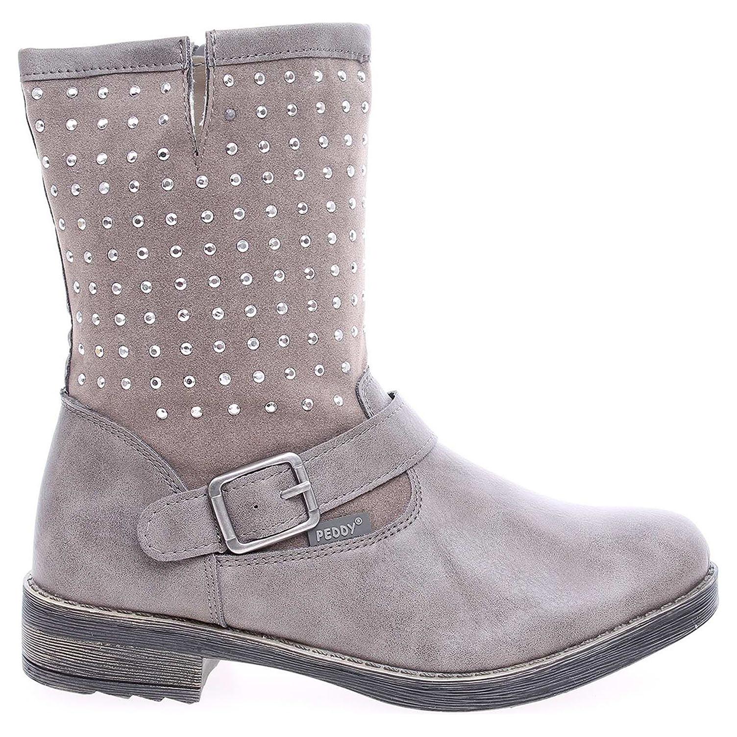 Ecco Peddy dívčí polokozačky PV-533-32-01 šedé 27400030