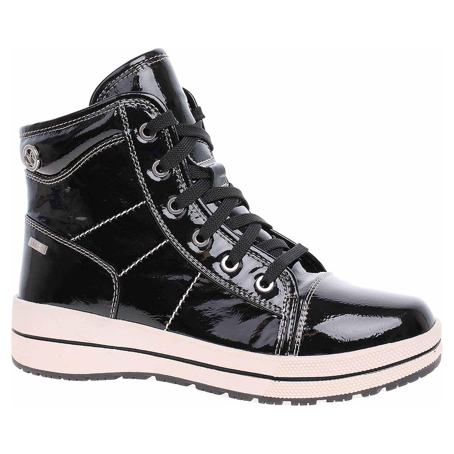 9/9-26222/21 018 black patent lepené dámské kotníkové, Tex, zip+šněr., lak CAPRICE