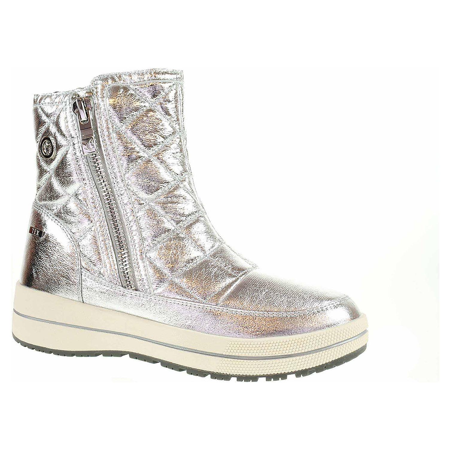9/9-26454/21 920 silver metal lepené dámské městské sněhule, Tex CAPRICE
