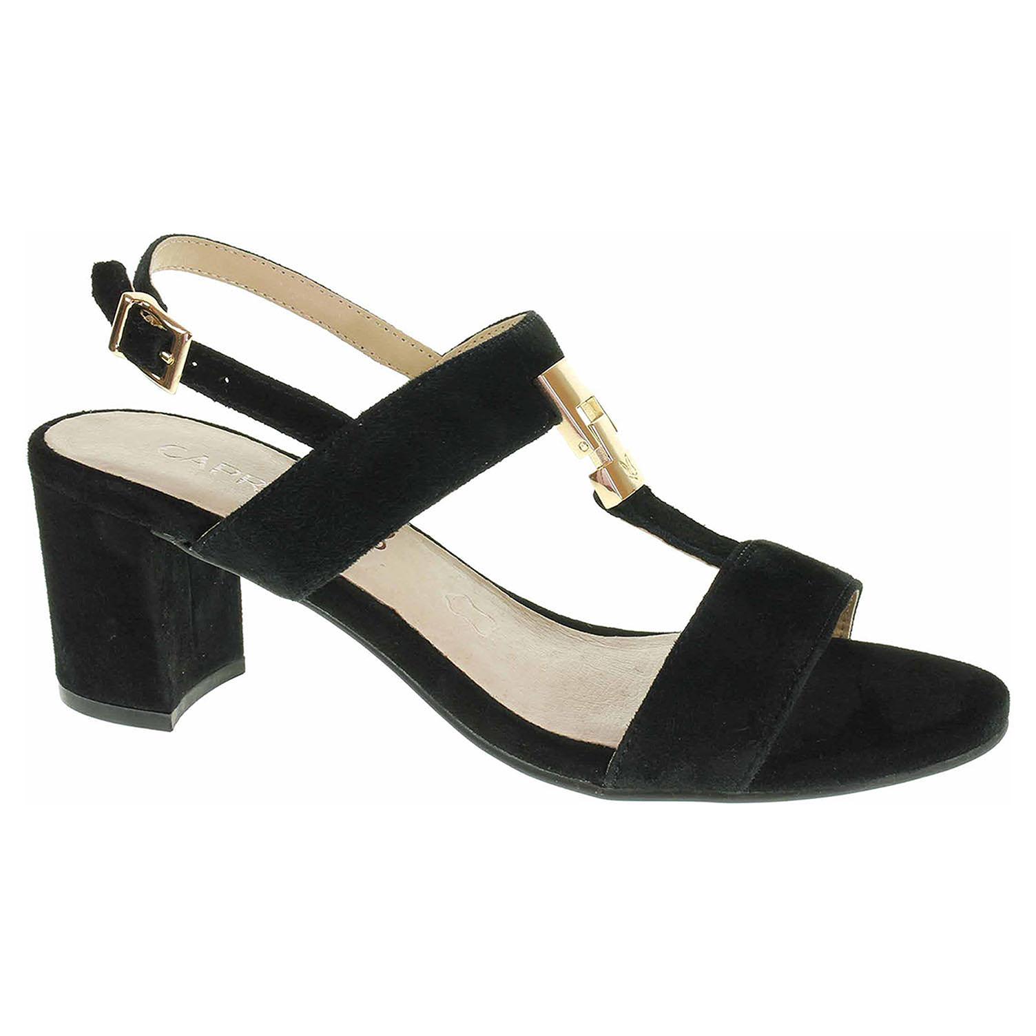 9/9-28303/22 004 black suede módní dámské sandály, semišové CAPRICE