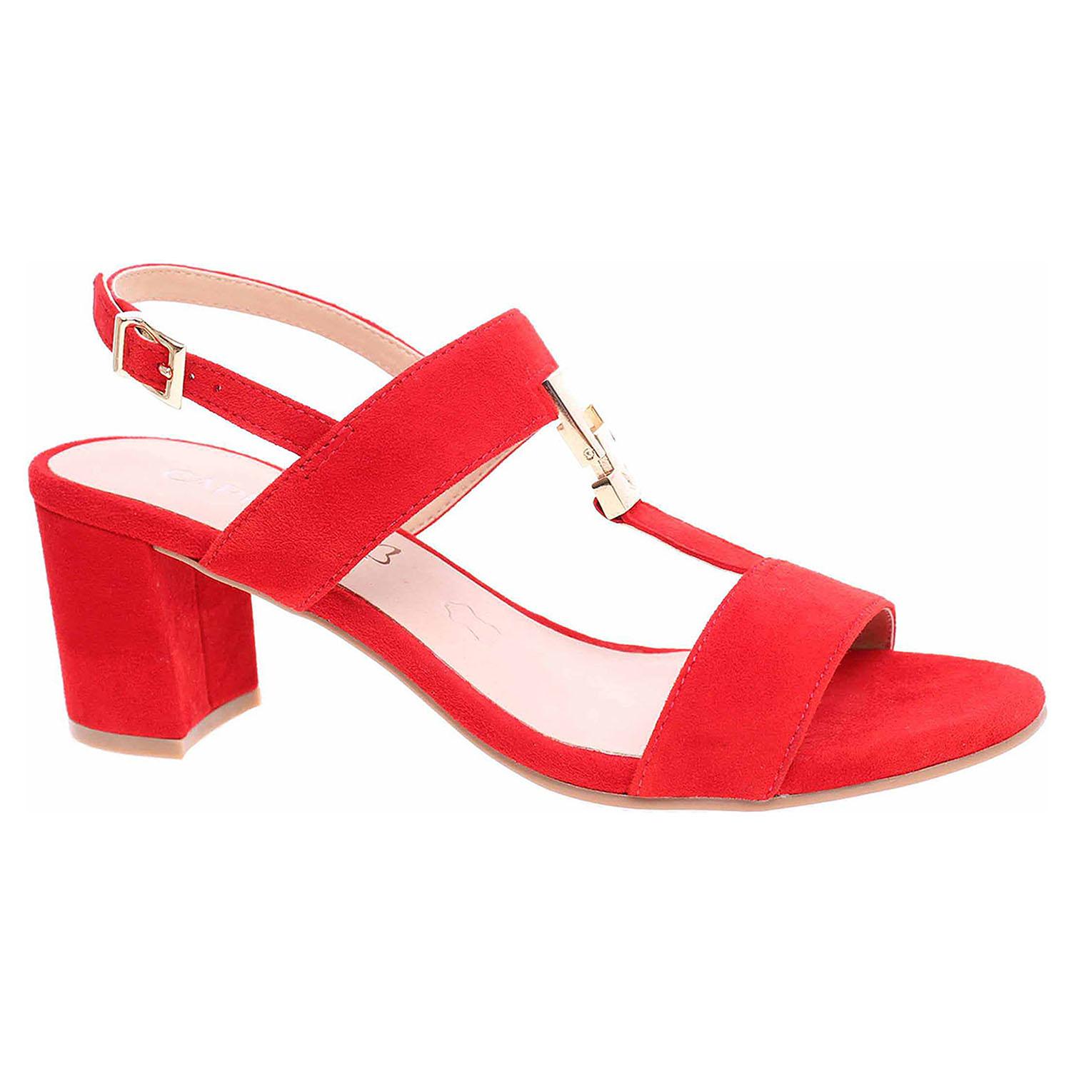 9/9-28303/22 524 red suede módní dámské sandály, podpatek CAPRICE
