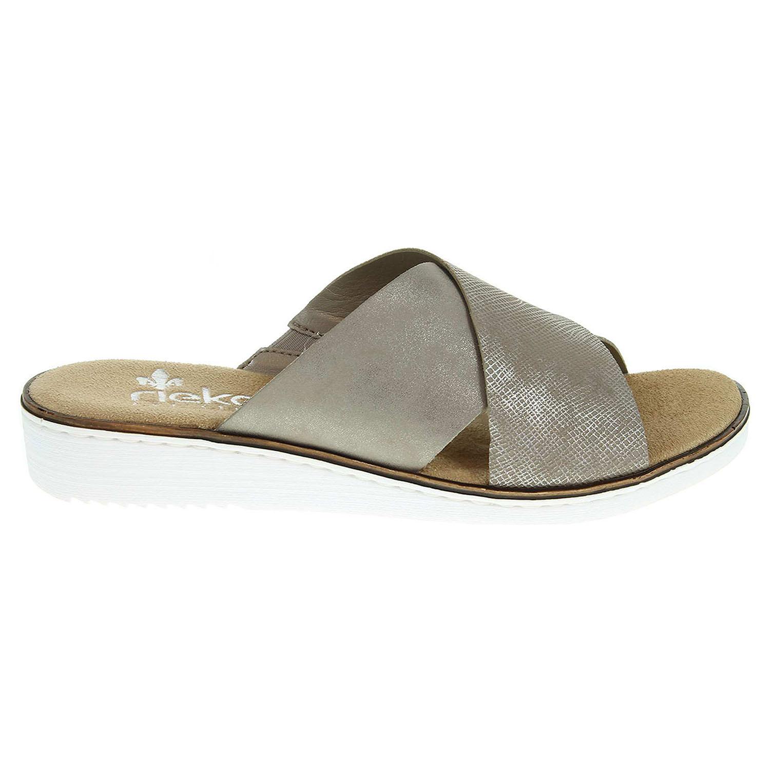 Ecco Rieker dámské pantofle 63660-65 béžové 23600789