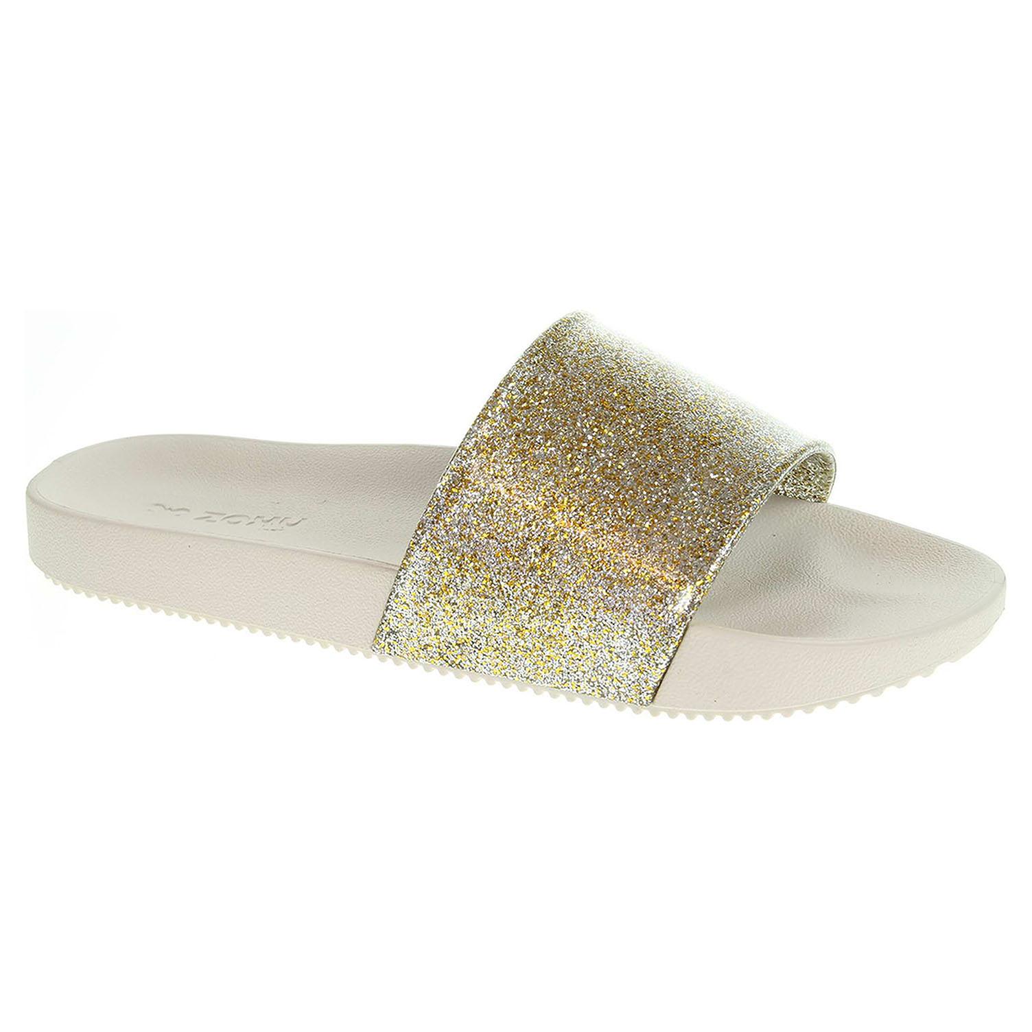 Ecco Dámské plážové pantofle Zaxy 82440 90287 glitter gold 23700359