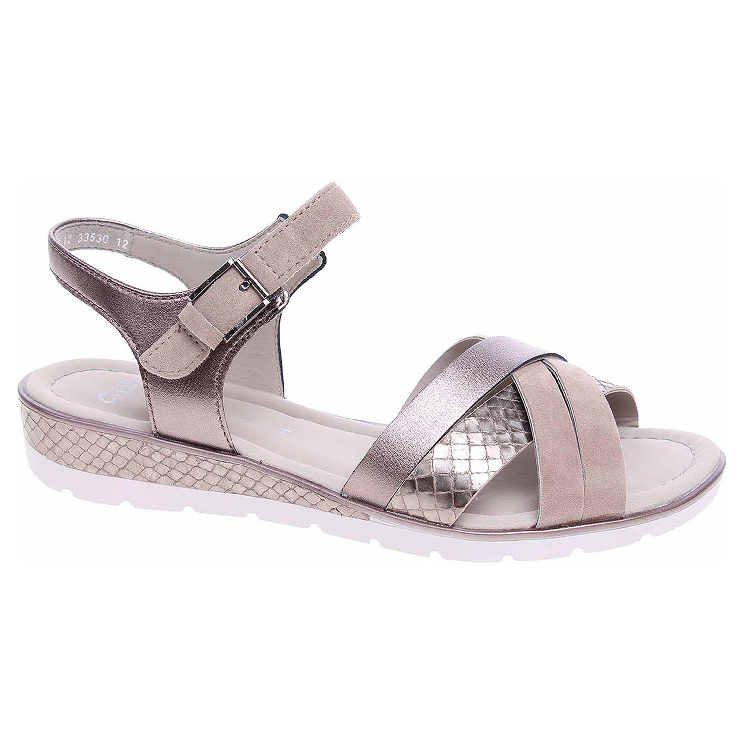 33530-12 taupe/street dámské sandály, H šíře, křížem pásky, klínek
