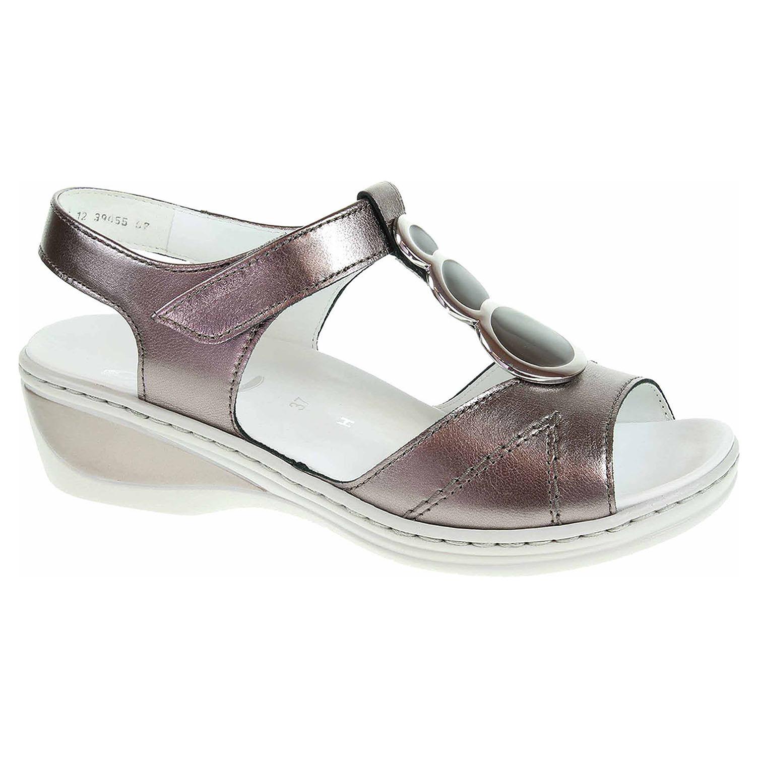 39055-07 street dámské sandály, H šíře, klínek, s.zip