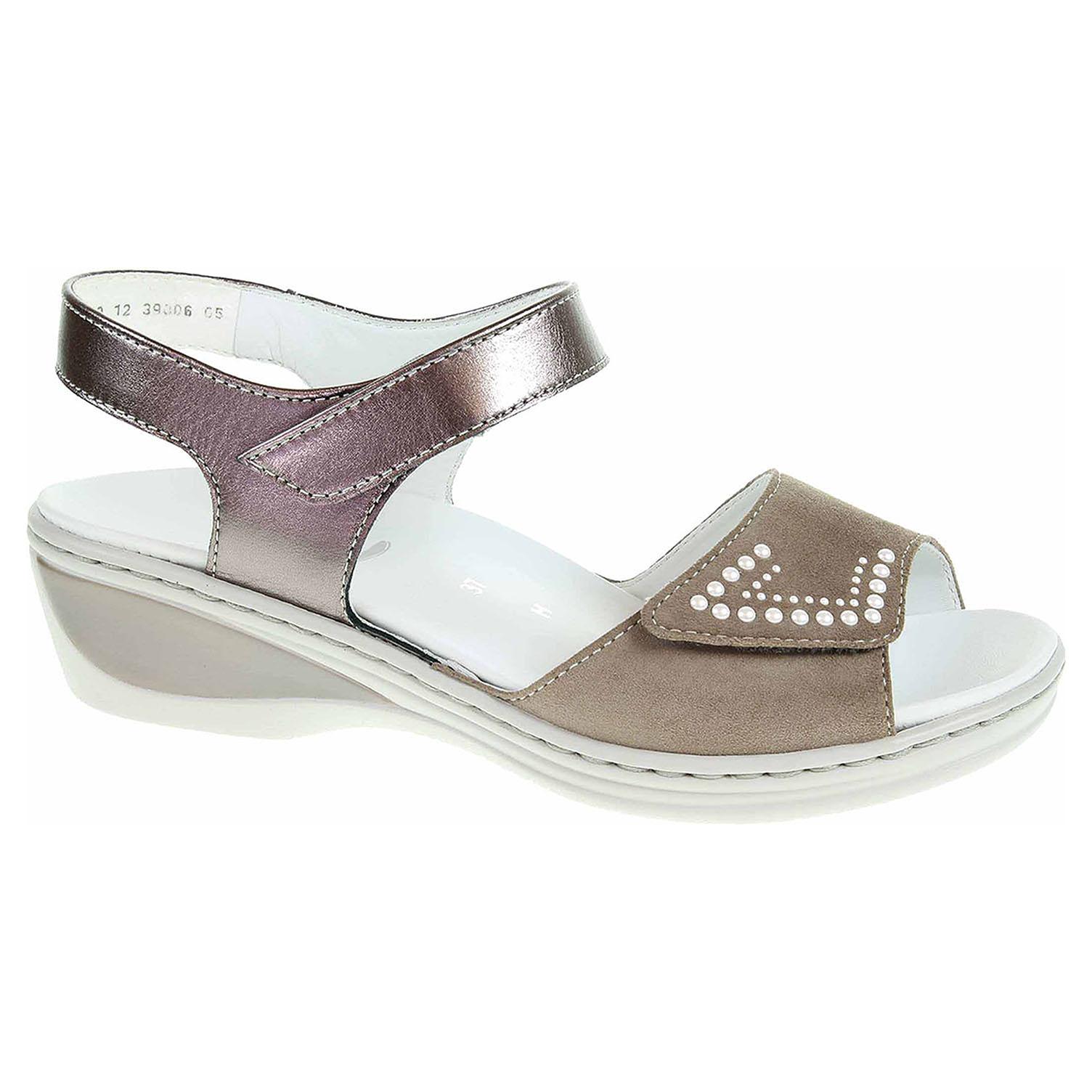 39006-05 taupe/street dámské sandály, H šíře, 2x s.zip, klínek