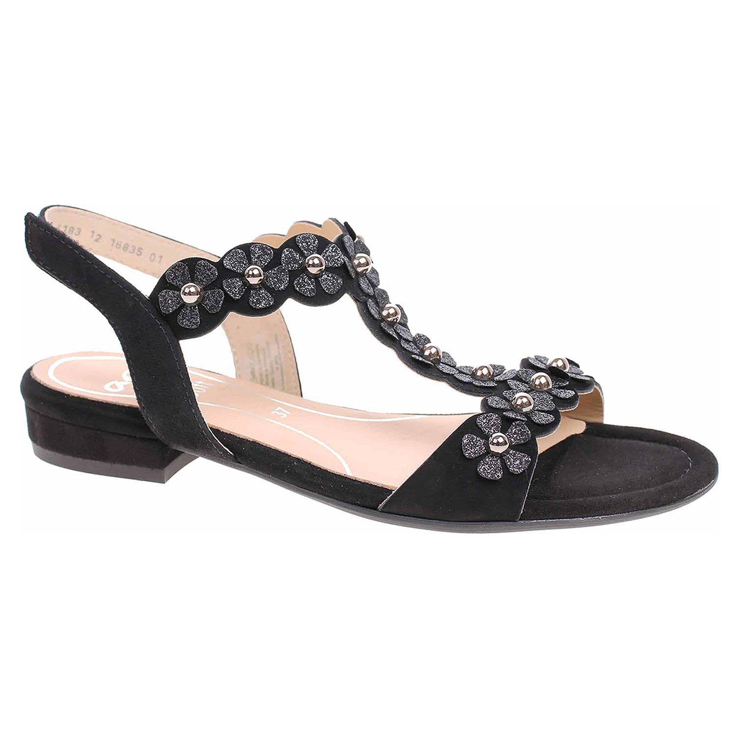 16835-01 schwarz módní dámské sandály, s.zip, kytičky
