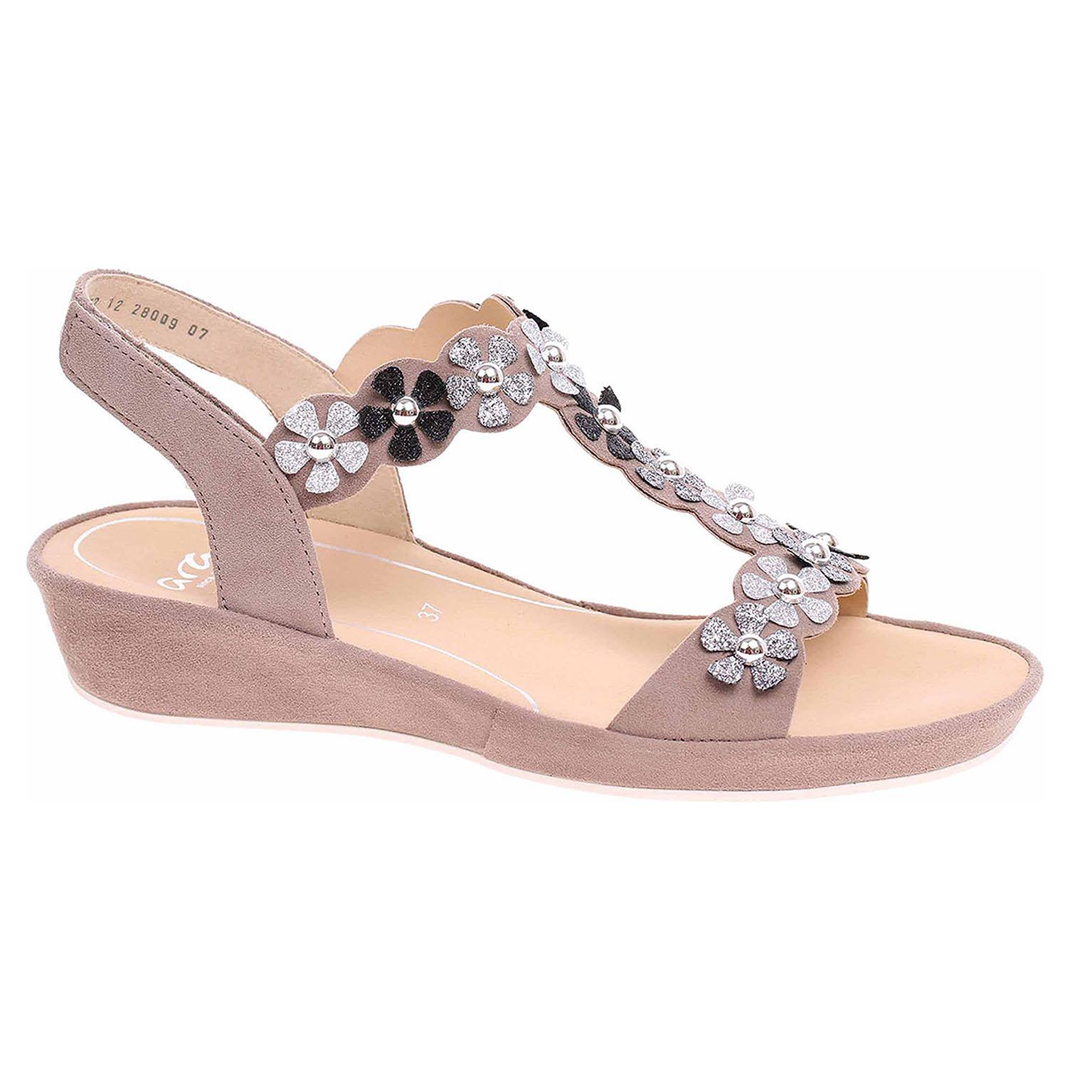 28009-07 taupe/silber módní dámské sandály, s.zip, klínek