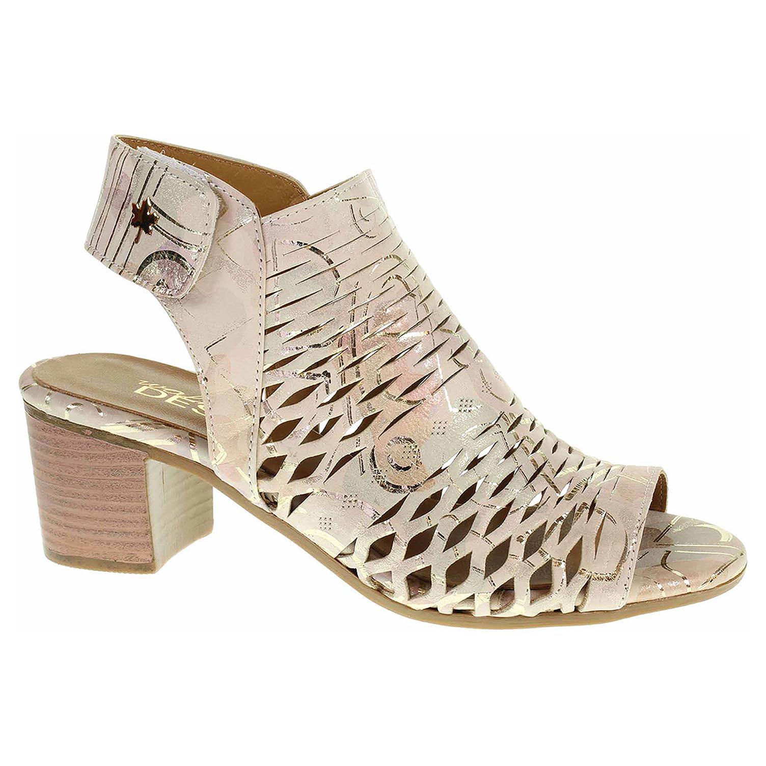 33964 beige printed módní dámské sandály kotníkové, s.zip