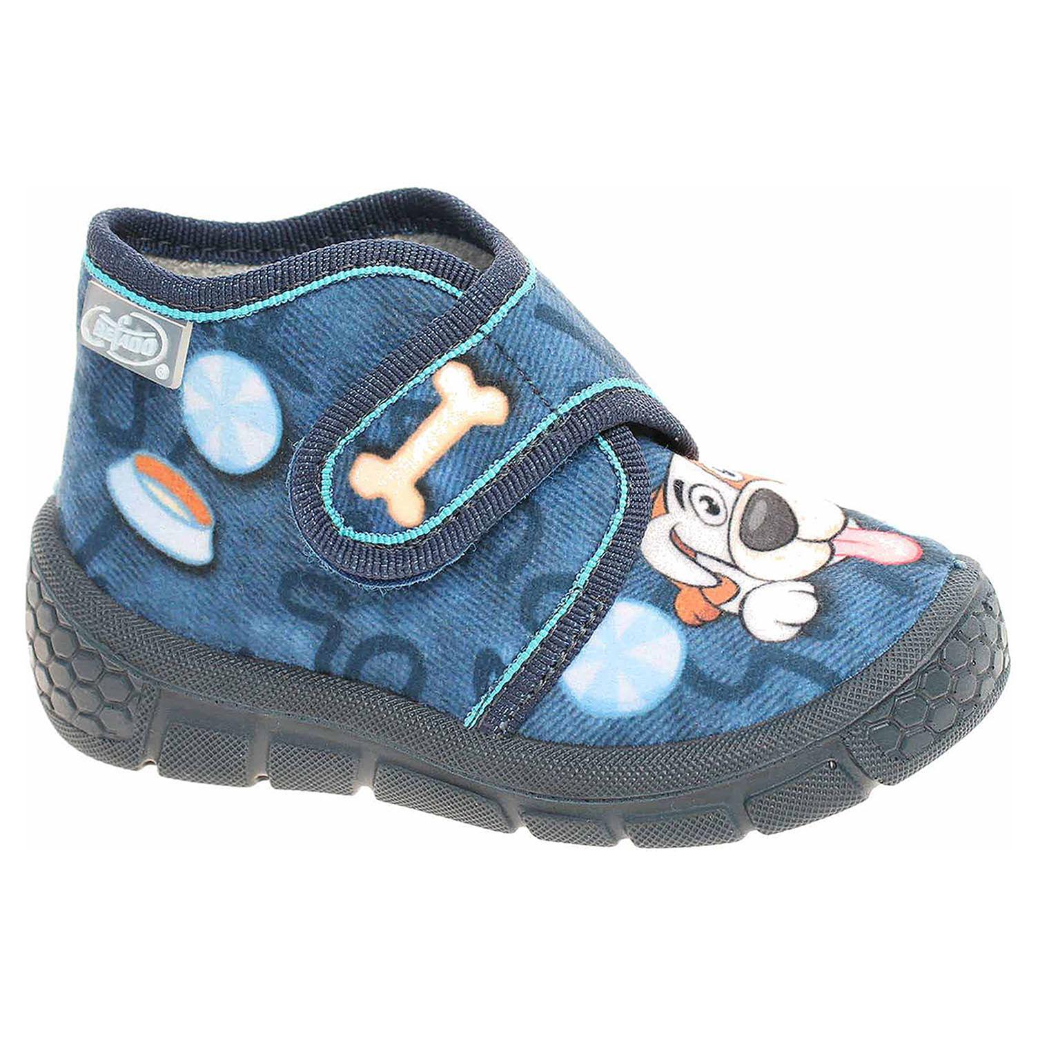 529P106 modrá chlapecké bačkory, kotník, s.zip Befado