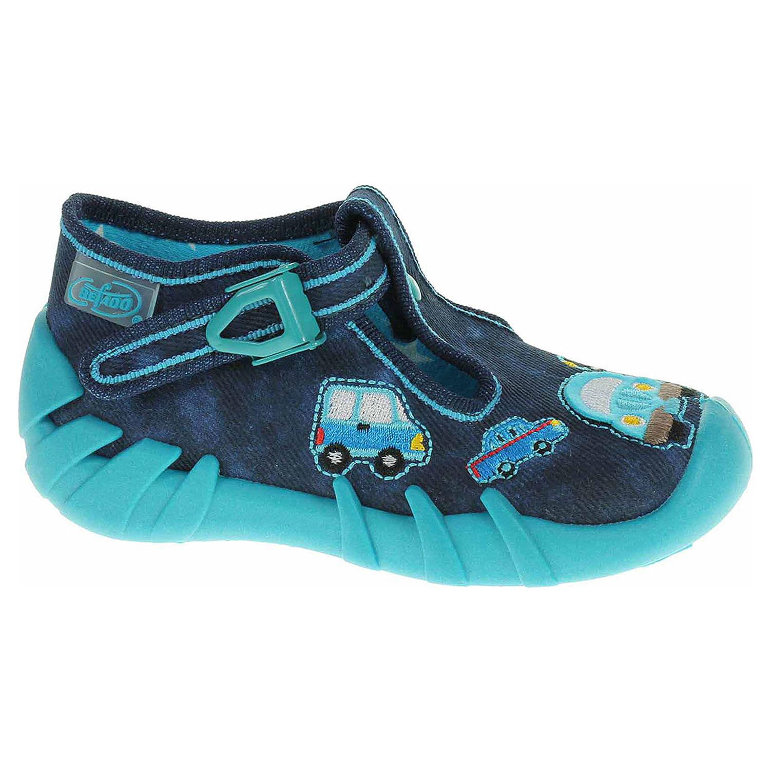 110P342 modrá chlapecké kotníkové bačkory, přezka Befado