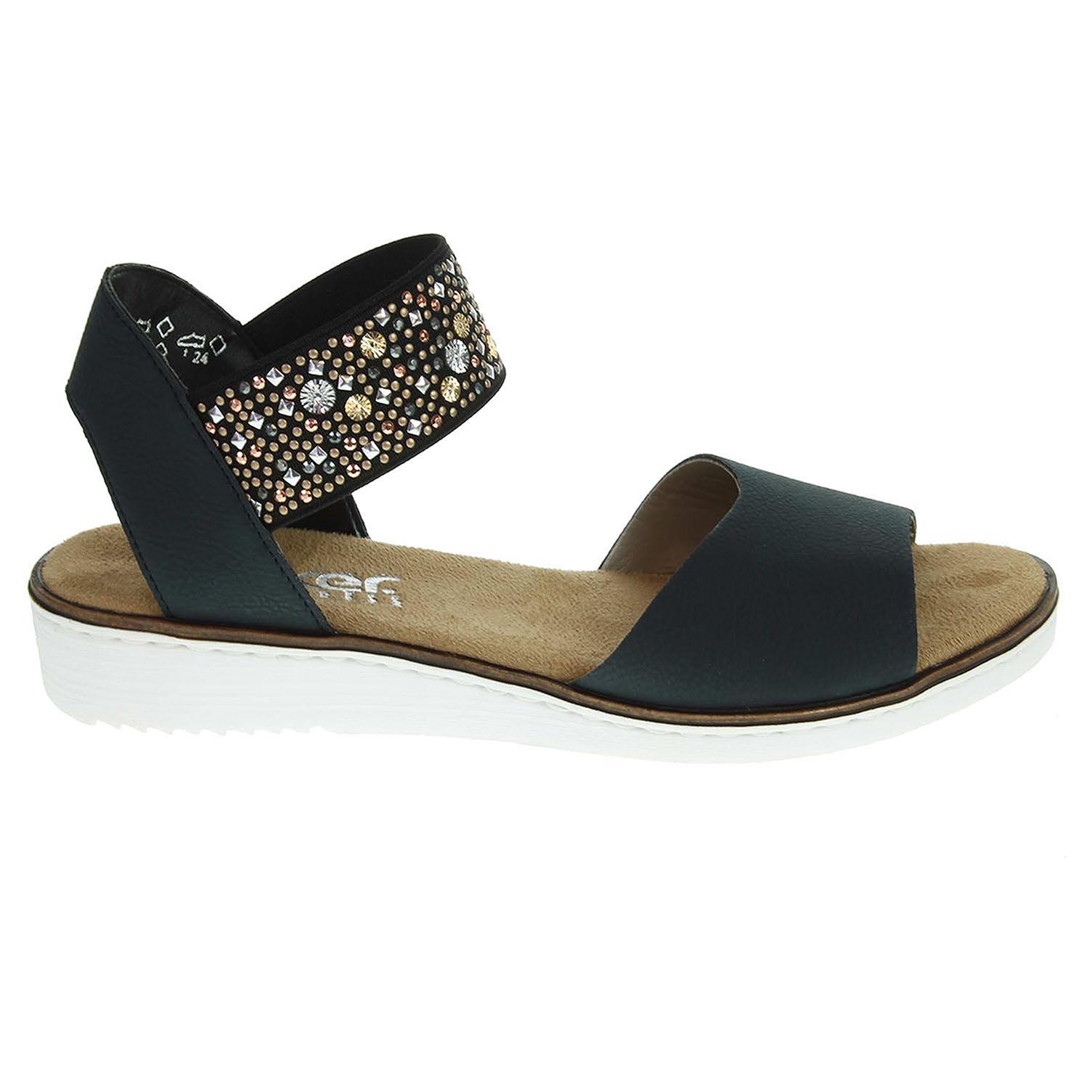 9d3e88c30bb6e Rieker dámské sandály 63678-14 modré | Rejnok obuv
